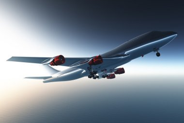 Airplane flying 3D render 07