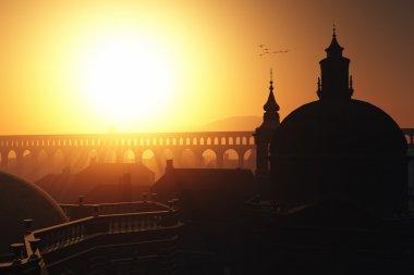 Sunset Sunrise in Rome 3D render