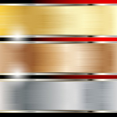 Illustration of a metal background, copper, steel and gold. Set. Vector. stock vector