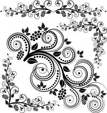 Floral corners and ornaments stock vector