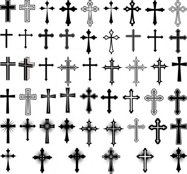 Clip art illustration of crosses stock vector