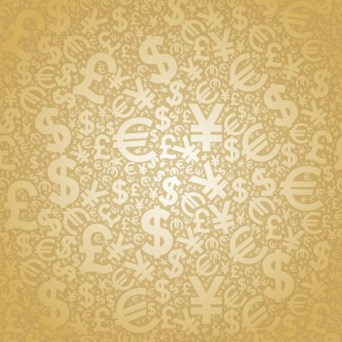 Seamless background characters of world currencies stock vector
