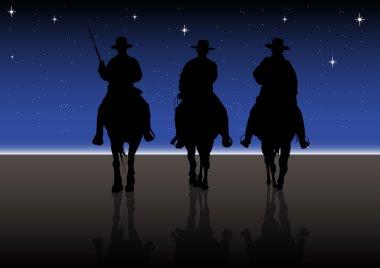 American Horse rider at night