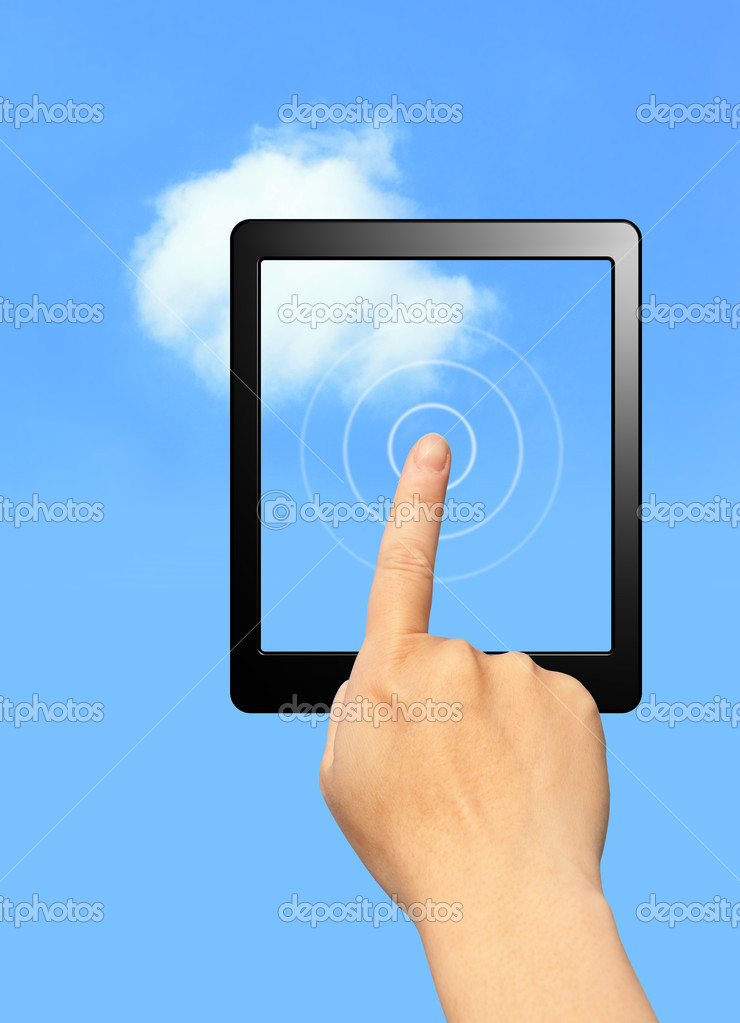 Hands touch computer screen with cloud