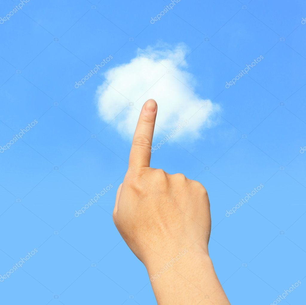 Hand finger touch Cloud in the sky