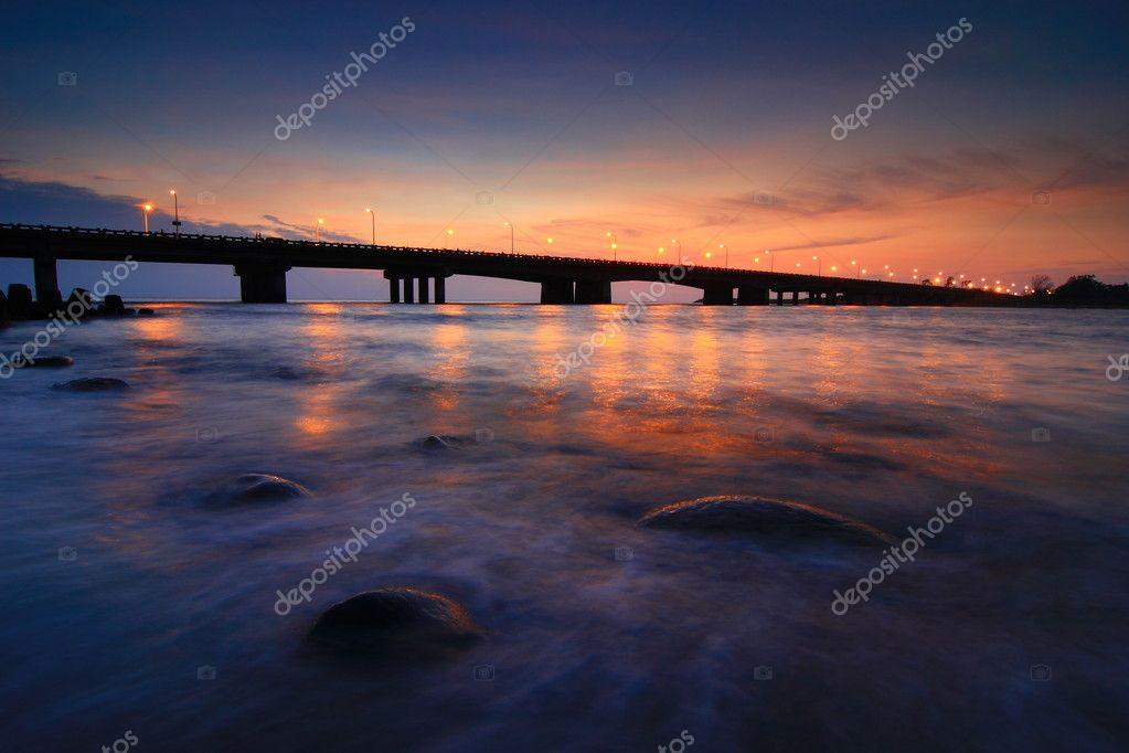 Beautiful sunset with a bridge