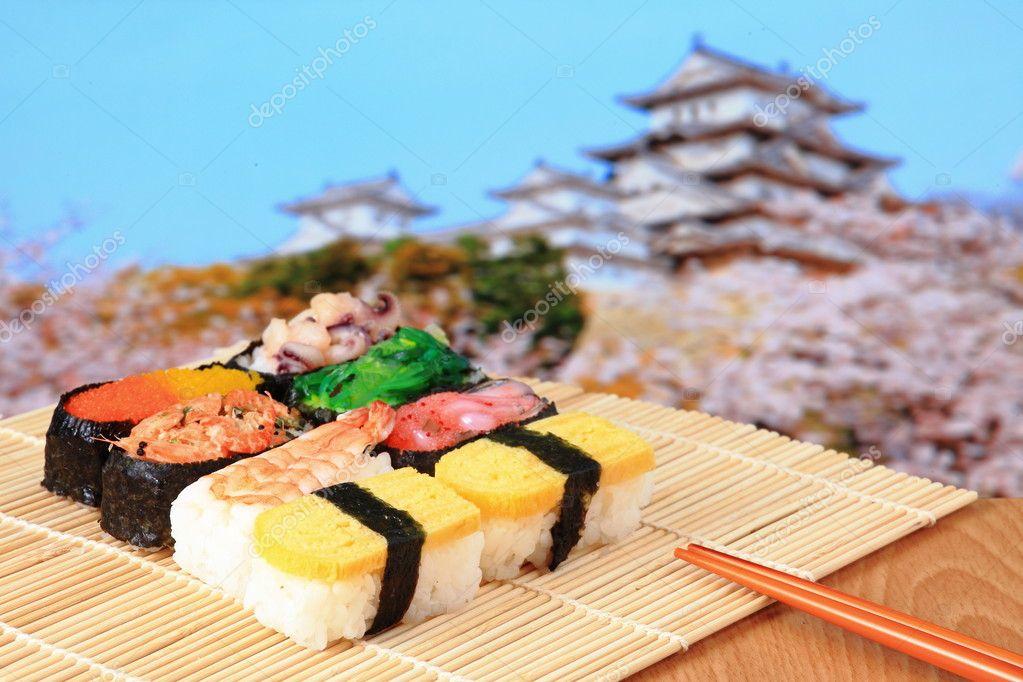 Tasty japan sushi with Japanese style castle