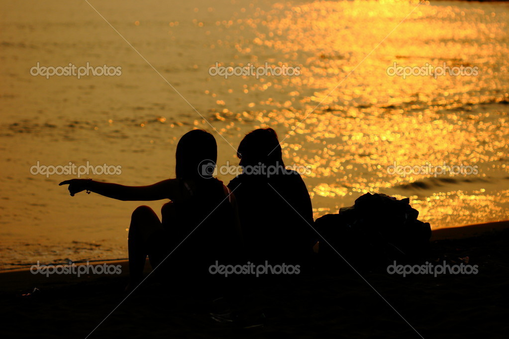 Lover in golden sunset