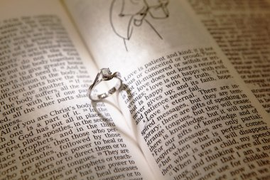 Wedding diamond rings on a bible