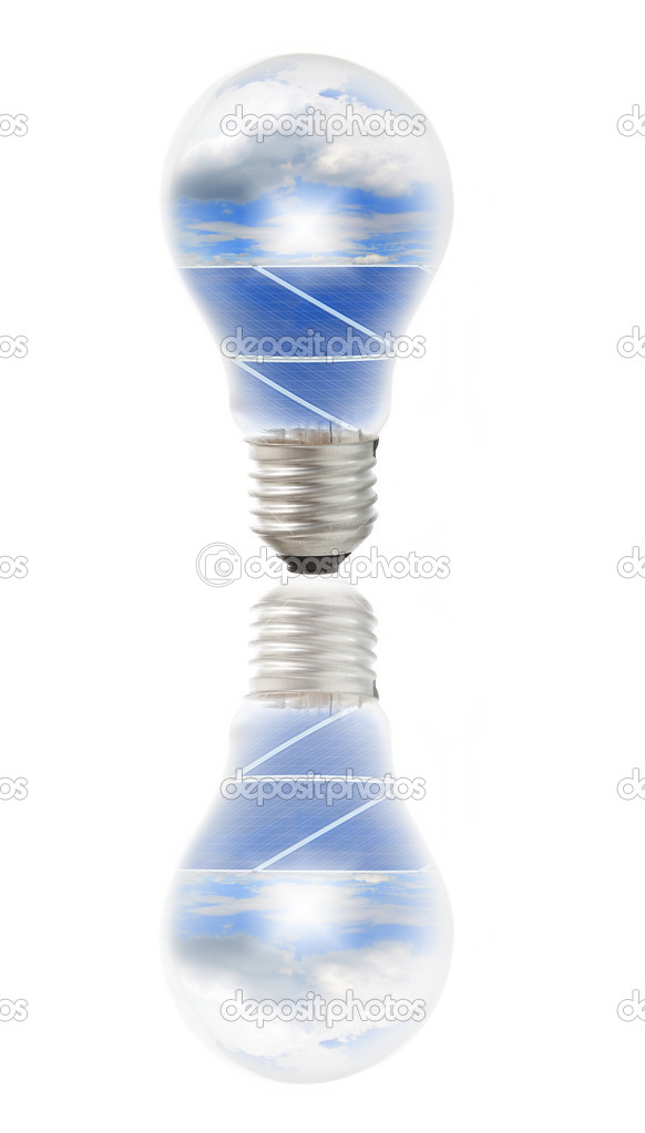 Lamp bulb with solar panels and sky inside