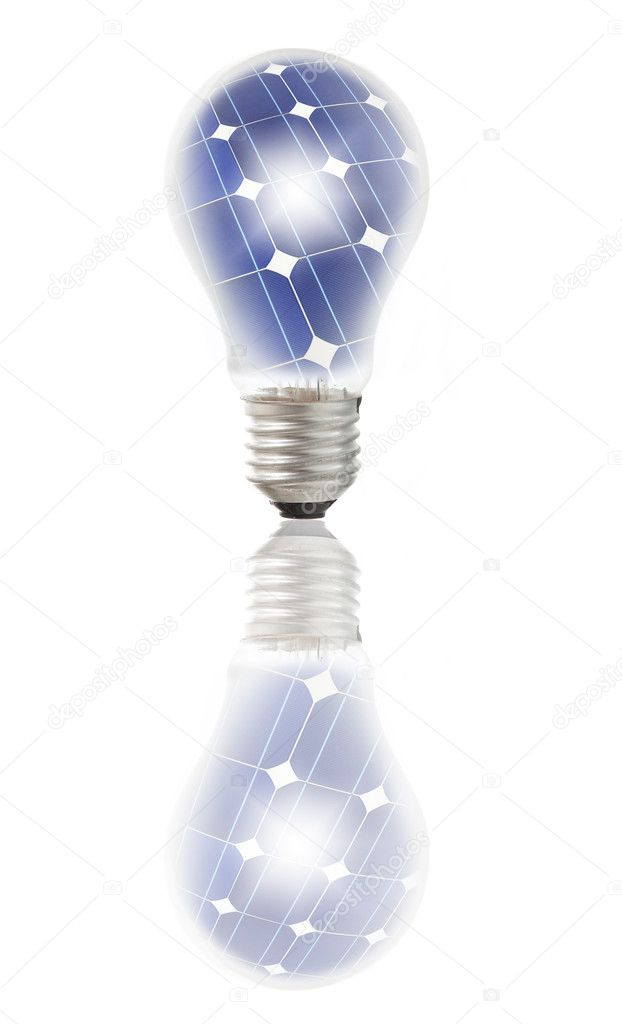 Lamp bulb with solar panels inside