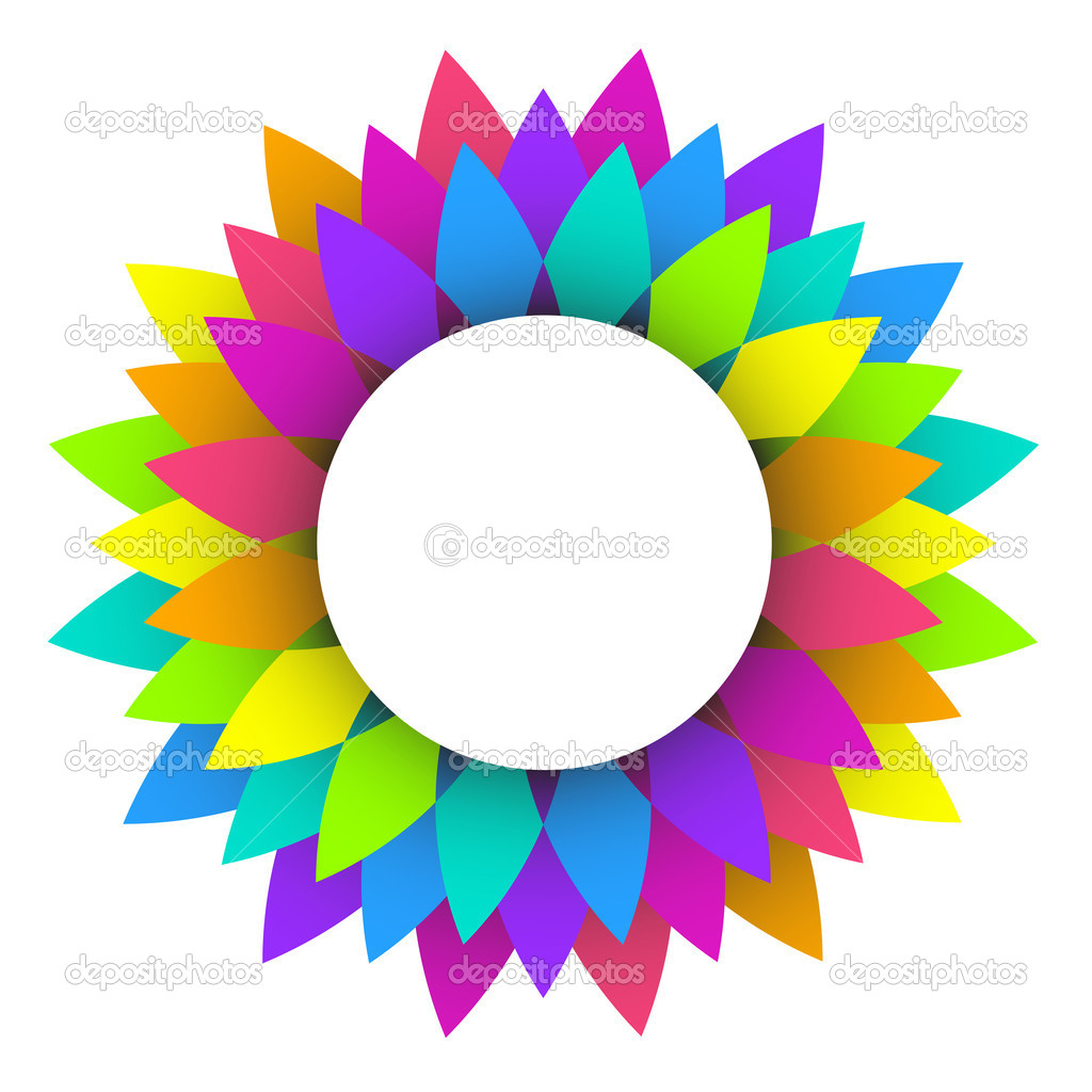 Abstract Rainbow Flower Logo Design Stock Vector