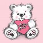 ein paar teddyb ren mit kleinen herzen umarmen hand gezeichneten illu stockvektor 8777386. Black Bedroom Furniture Sets. Home Design Ideas