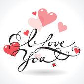 Fotografia cartolina di San Valentino con scritta ti amo. illustrazione vettoriale