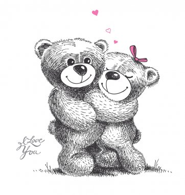 Couple of hugging teddy bears with small hearts. Hand drawn illu