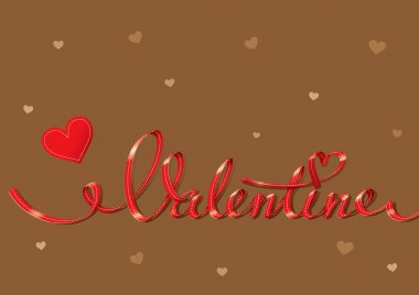 Valentine card with red lettering and small hearts on a brown ba