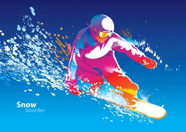 The colorful figure of a young man snowboarding on a blue sky ba