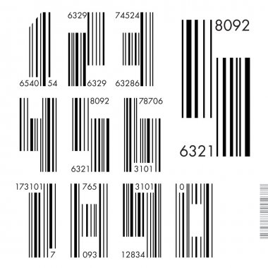 Font Barcode - numbers, vector illustration.