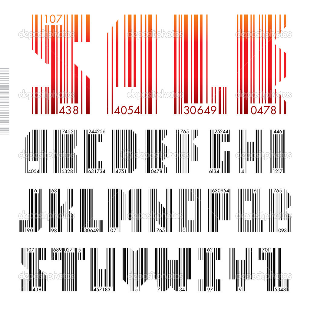 Font Barcode - letters from A to Z, vector illustration.