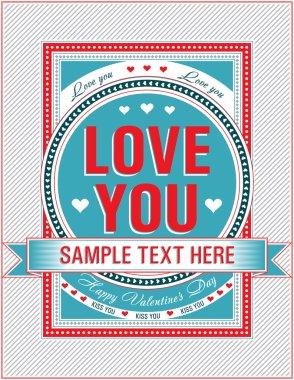 Vintage Valentine card. Vector illustration.
