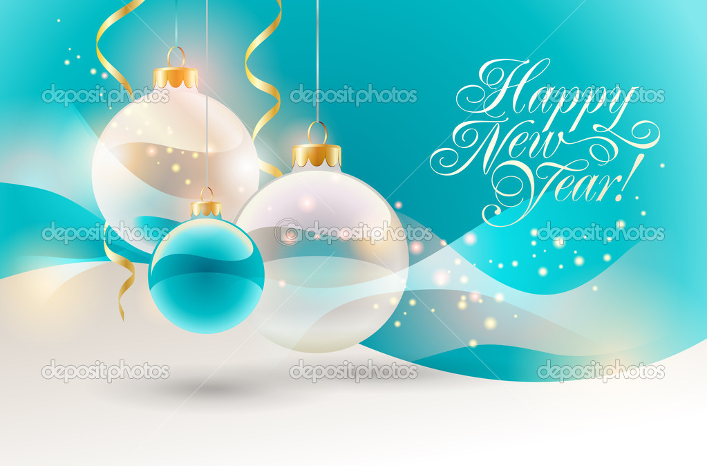 Christmas background with baubles. Vector illustration.