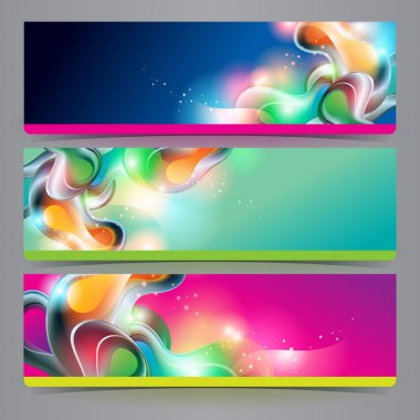 Set of banners and headers with abstract shining forms. Vector illustration. clip art vector