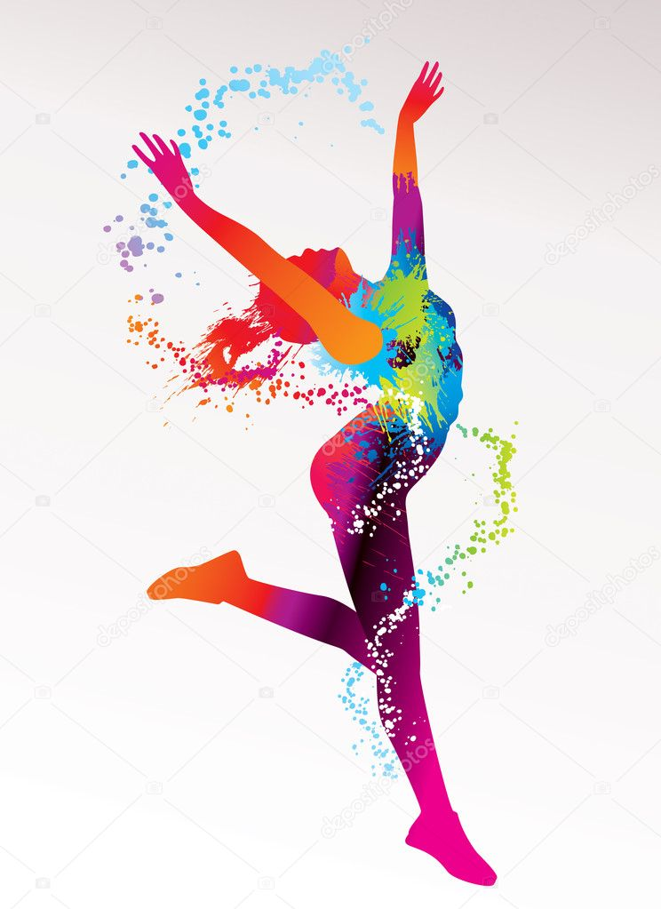 The dancing girl with colorful spots and splashes on a light bac