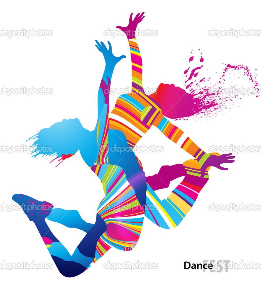 Two dancing girls with colorful spots and splashes on white back
