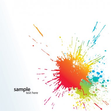 Background with colorful spots and sprays on a white. Vector illustration. clip art vector