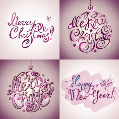 Merry Christmas and New Year lettering (inscriptions)