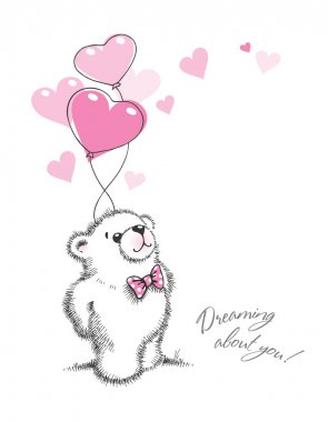 Teddy bear keeps the balloons in the form of hearts. Hand drawn