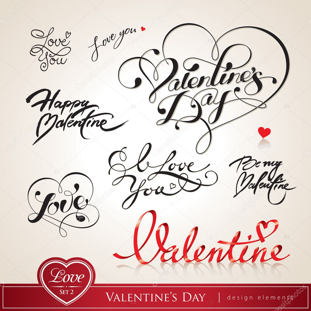 Valentine's Day. Set of Valentine's calligraphic headlines with hearts. Vector illustration. clipart vector