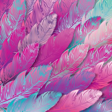 Background of iridescent pink feathers, close up, vector illustation