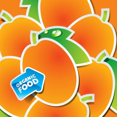 Background from apricots with an arrow by organic food.