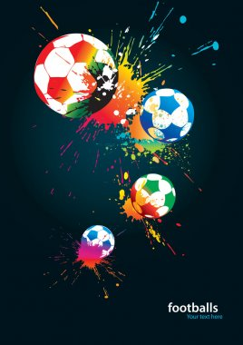 The colorful footballs on a black background