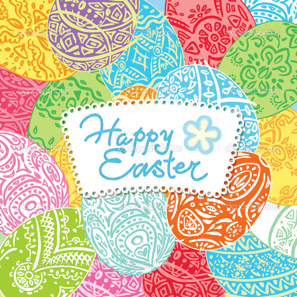 Easter background with lacy eggs and inscription. Vector illustr