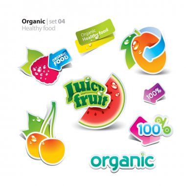 Set of stickers and icons of healthy and organic food. Vector il