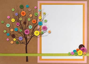 Spring time tree made of buttons with copy-space