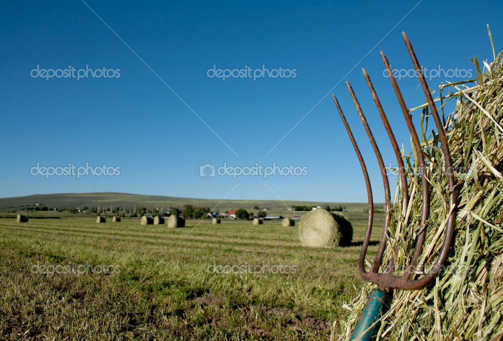 A pitchfork stuck in a bale of hay with a farm landscape in the