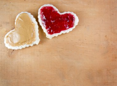 Peanut butter and jelly sandwitch cut in heart shape