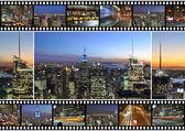 New york city tématikou sestřih a koláž představovat různé slavných míst a oblastí big apple v noci