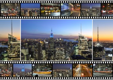 New York City themed montage and collage featuring different famous locations and areas of The Big Apple the night