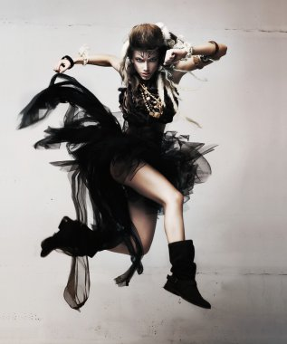 Dynamic and active sensual female jumping
