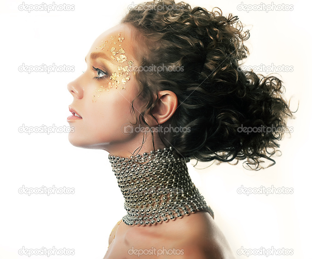 Conceptual make-up. Fashionable girl. Bright hairstyle