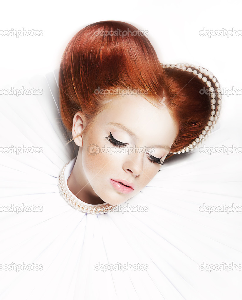 Luxurious redhair duchess - redhead freckled girl with pearl necklace
