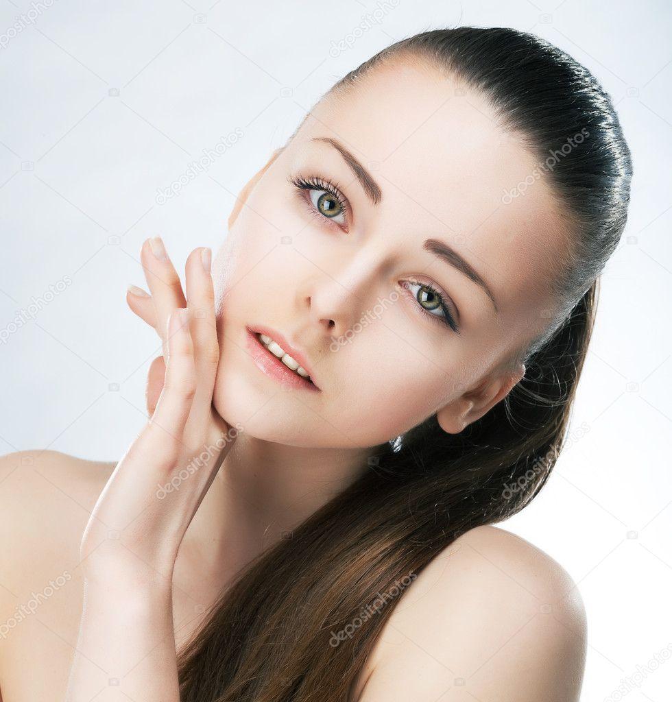 Mulher De Rosto De Beleza Limpar A Pele Lisa Maquiagem Natural