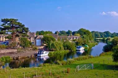 English country village by river