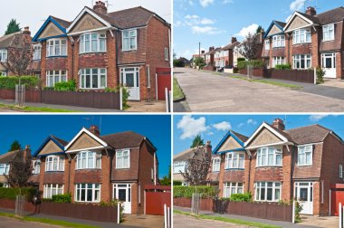 Street of semi detached & detached houses in urban area in England
