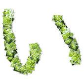 Japonské znaky hiragana, vyrobený z zelené Foto