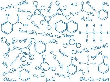 Chemistry background - molecule models and formulas, hand-drawn illustration stock vector